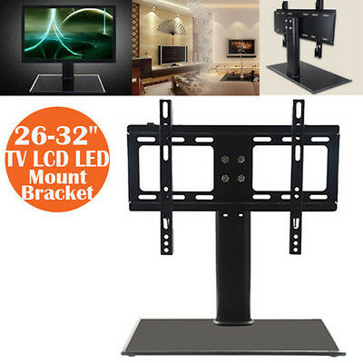 """New Cantilever Glass TV Stand with Bracket for 26""""-32"""" inch LCD LED Plasma UK"""