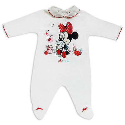 Disney Baby Girls Minnie Mouse Print Romper Sleepsuit Traditional Style White