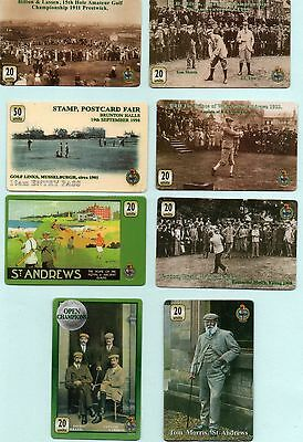GOLFING PHONECARDS 8 different Tom MORRIS ,Bobby Jones, St Andrews Golf course