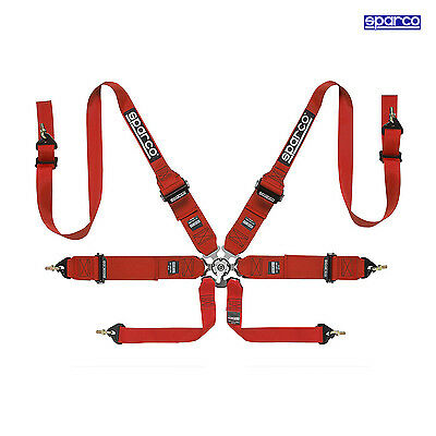 Sparco 6 - point Safety Belts, Hans, Roll Cage fixing, light, red