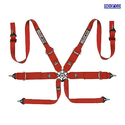 Sparco 6 - point Safety Belts, narrow to HANS, red