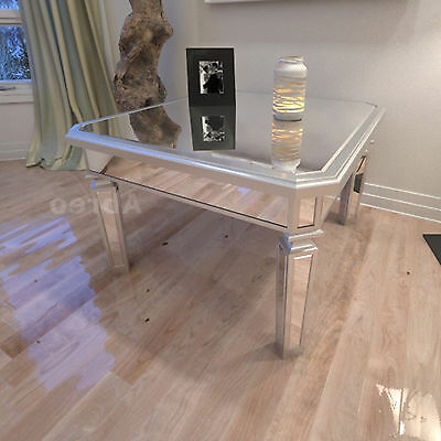 Venetian Mirrored Coffee Table Antique Silver Glass Vintage Chic Room Furniture