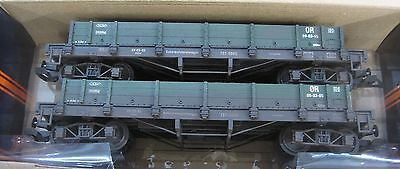G Scale Pack of two Green Low-sided Gondola Wagons - Hand Weathered