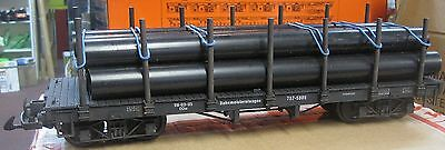 G Scale Bogie Pipe Wagon with load - Hand Weathered