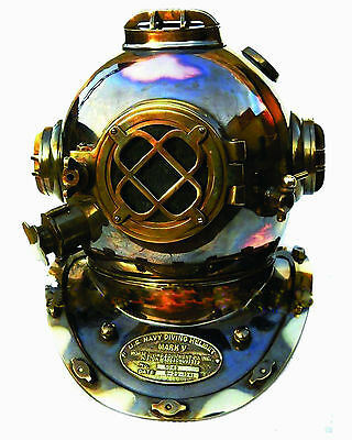 Vintage U.S. Navy Diving Helmet Mark V ENGRAVED FULL SIZE SCUBA Equipment DECOR