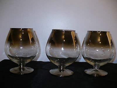 6 VINTAGE SILVER RIM Band Dorothy Thorpe Roly Poly Brandy Snifter Cognac Glasses