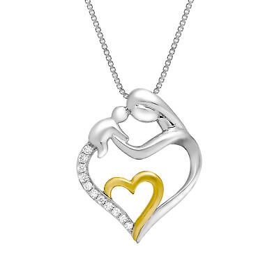 1/10 ct Diamond Mother & Child Pendant in Sterling Silver & 14K Gold