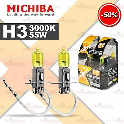 MICHIBA H3 12V 55W 3000K YELLOW LOOK OPTIK Halogen Birnen Lampen GELB Fernlicht