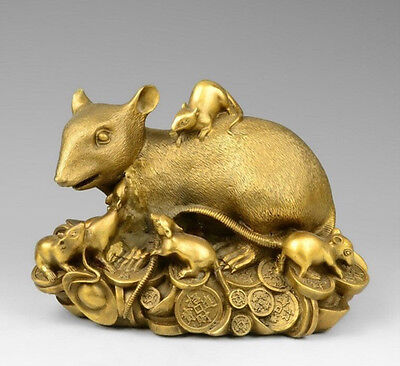 China Pure Brass Copper Zodiac Wealth Money Yuanbao Mice Mouse Rat Family Statue
