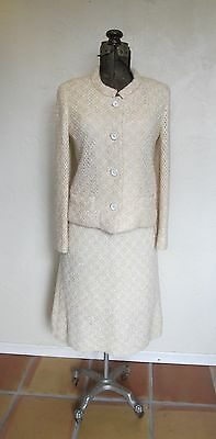 VINTAGE 1950'S 60'S MURRELL BELGIUM Crocheted BOUCLE WOOL RAFFIA DRESS SUIT M