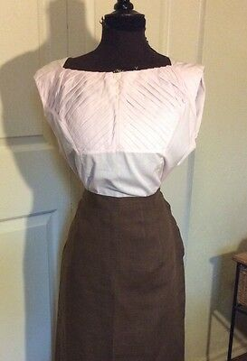 VINTAGE 1950's PINK COTTON PINTUCKED SUMMER BLOUSE TOP B 40