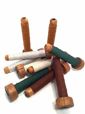 Vintage Primitive Wood Threaded Textile Bobbins Spools Quills Industrial Lot-10