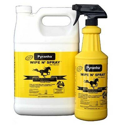 PYRANHA WIPE N SPRAY Protections from Flies Add High Sheen to Horse Coat 1Gallon