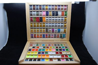 144 Fly Tying Spools of Floss, Thread, Tinsel, Wire, Wool in a Wooden Box