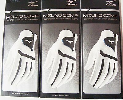 3 New Mizuno Comp Men's Synthetic Golf Gloves LH, Multiple Sizes, For Righties
