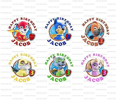 60 Super Paw Patrol Birthday Stickers Lollipop Labels Party Favors 1.5 inch