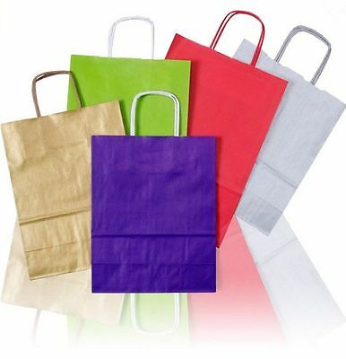 Coloured Twisted Paper Party LOOT GIFT BAGS with Handles Birthday *All Sizes*