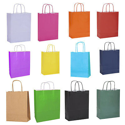 Coloured Twisted Paper Party LOOT GIFT BAGS with Handles Birthday Christms Kraft
