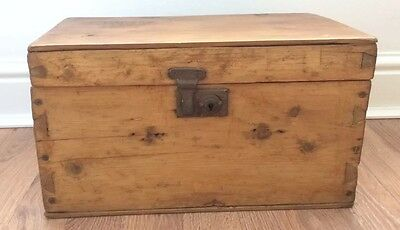 Antique Wooden Deed Box. Sewing Box. Storage Box
