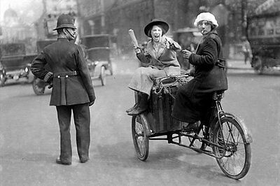 PHOTO TAKEN FROM A 1920's IMAGE LONDON POLICEMAN WITH 2 LADIES ON A TRADE BIKE