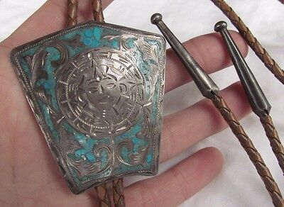 Vintage Mexico Aztec Calendar Mosaic Inlay Turquoise Bolo Tie RSS