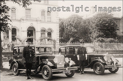 Photo Taken From A 1931 Image - Cheltenham Police Officer With Cars