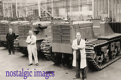 PHOTO TAKEN FROM 1940's IMAGE OF SHELVIC TRACTORS AT VICKERS FACTORY