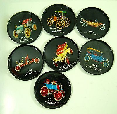 Early 1900's Car Tin Coasters Lot 7 Made In Japan Cadillac Duryea Ford MCM Retro