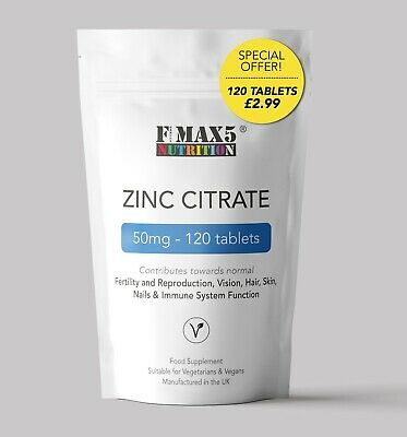 Zinc Citrate 50 Mg X120 Tablets Sexual Health Acne Immune Skin Hair