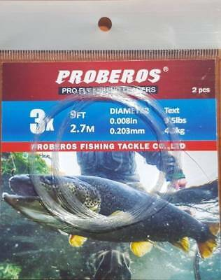 2pcs 9ft Proberos clear nylon fly fishing tapered leader 3X Trout fishing
