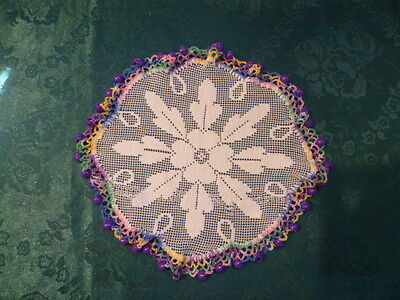 Vintage Purple  Beaded Jug Cover With Multi Coloured Crocheted Edge
