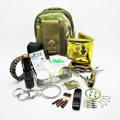 COMBAT BELT POUCH SURVIVAL KIT outdoor camping hiking bushcraft travel EDC