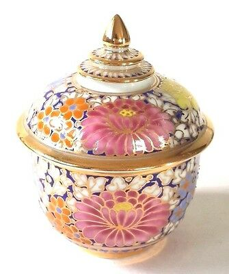 Thai Pocerlain Bowl Cup Ceramic Benjarong Hand Painted Gold Leaf Pottery 3 Inch