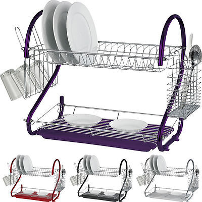 New 2 Tier Chrome Plate Dish Cutlery Cup Drainer Rack Drip Tray Plates Holder
