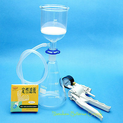 1000ml,Suction Filtration Kit,350ml Funnel,1L Flask & Vacuum Pump W/Filter Paper