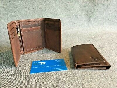 Leather wallet trifold buffalo gift box W3Z/ID/B zip men's Billy Goat Designs
