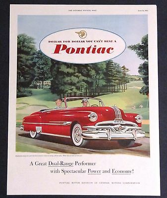 1952 Pontiac Advertisement Original Color AD Red Convertible Vintage Car Art