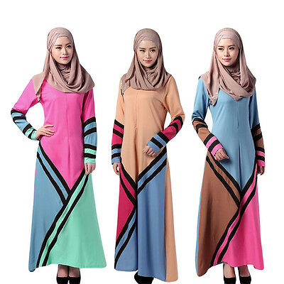Neu Muslim Frauen Lange Sleeve Loose Kleid Arab Kaftan Abaya Robe Cocktail Gown