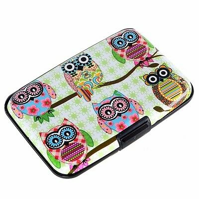 Night Owl Aluminum Wallet Credit Card Holder Women Slim Business Card Hard Case