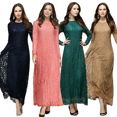 Dame Muslim Abaya Kleid Arab Islamisch Lace Long Sleeve Apparel Robes Kleider