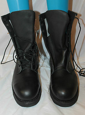 Usgi Us Army Addison Black Leather Safety Boots Size 8 1/2 R W Biltrite Soles