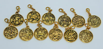 1 x GOLD BIRTH SIGN CLIP-ON-CHARM,BAGS-BRACELET,KEYRING-ZIPPERS,ECTAUSSIE SELLER