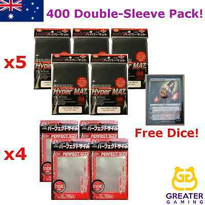 400 KMC Hyper Mat Black and Perfect Size Double Sleeving kit MULTIPLE COLOURS
