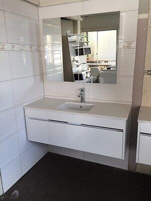 1200mm high gloss white bathroom stone top wall hung vanity