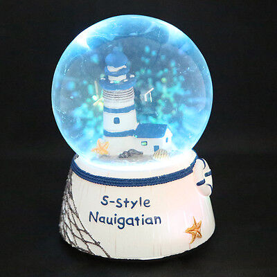 AU LED Lighthouse Tower Snow Globe Musical Box Waterball Crafts Gift Toys Decor