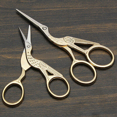 Vintage Gold Stork Scissors Cross Stitch Sewing Shears Cutter Tool Embroidery