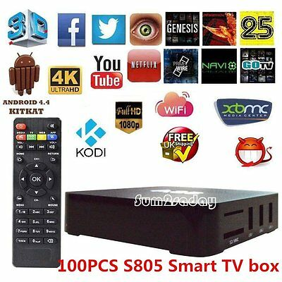 100X S805 Android 4.4 Smart TV Box Quad Core Latest 4K HD FULLY LOADED HomeMedia