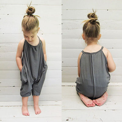 Girls Playsuit Solid Off Shoulder Sleeveless Casual Club Wear Jumpsuit Romper
