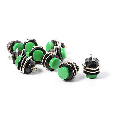 10pcs 16mm Green Momentary OFF/ON Push Button Car Boat Switch 2 Pin TH294