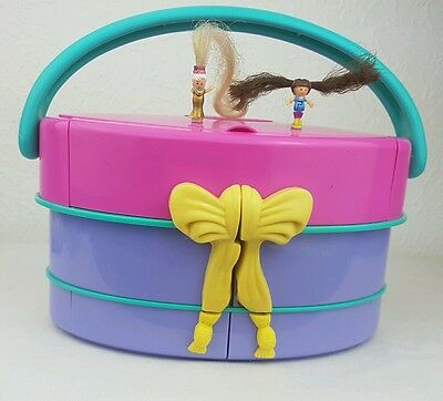 Polly Pocket 1995 Fashion Show Light Up Hat Box  Figures